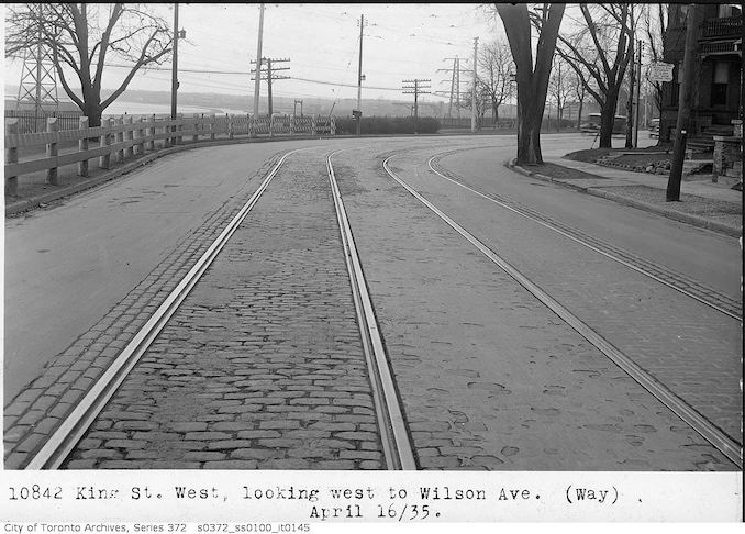 1935 - April 16 - King Street West, looking west to Wilson Avenue
