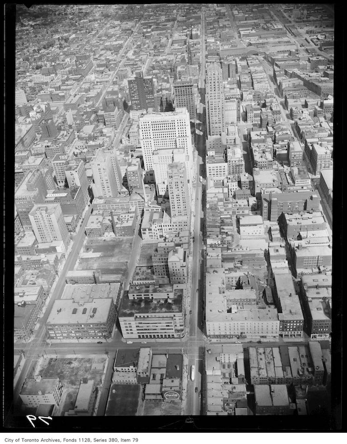 1950? - Aerial view of downtown Toronto, looking east along King Street