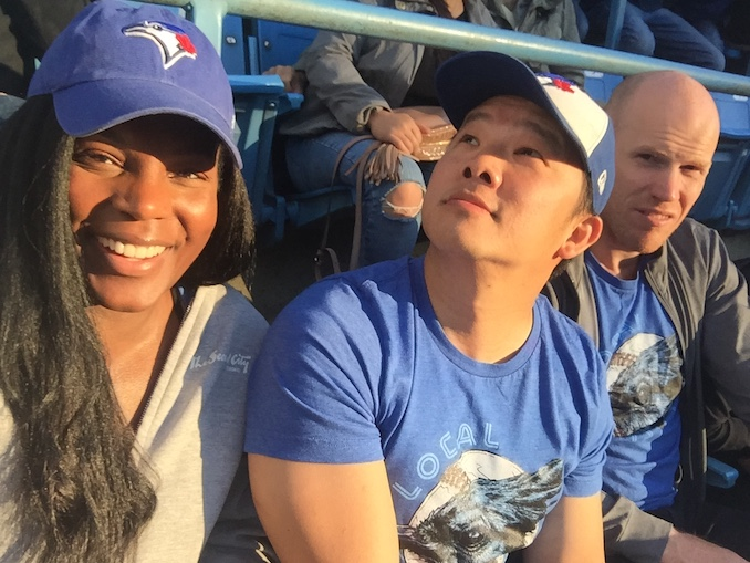 Enjoying the Jays game with great friends and fellow actors Jim Kim and Ryan Turner. The guy in the middle likes to pose.