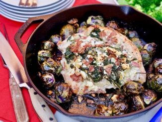 Spinach, Feta and Turkey Bacon Stuffed Turkey Breast - credit - Abby Langer and Butterball recipe