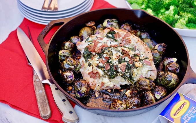 Spinach, Feta and Turkey Bacon Stuffed Turkey Breast - credit - Abby Langer and Butterball
