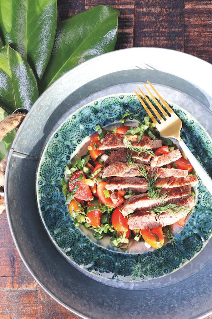 Grilled Blade Steak with Chopped Tomatoes, Herbs, and Green Onions