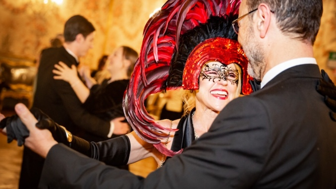 Masked Carnival Ball waltz with my husband Pietro at the Pamphilj Palace, Rome, Italy.