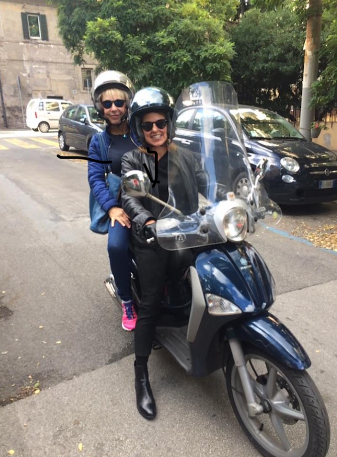 Roman life, I'm always on my motorino. It is the only way to get around in Roman traffic. Pictured here with my friend Karen Gruson.