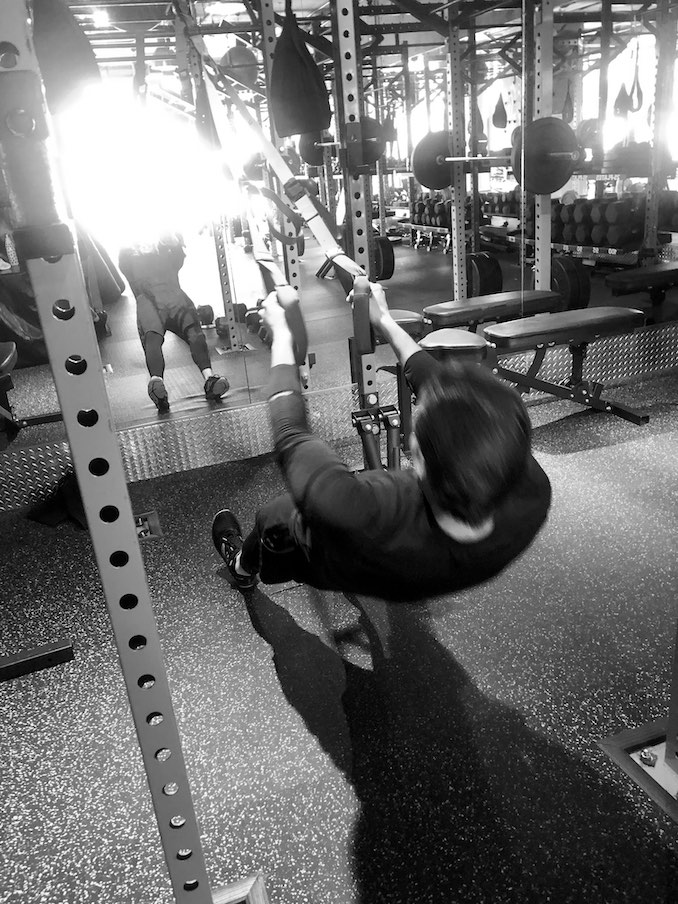 Do my best to workout at least 4 days a week. Boxing is my main jam, but here I am struggling through a TRX set.