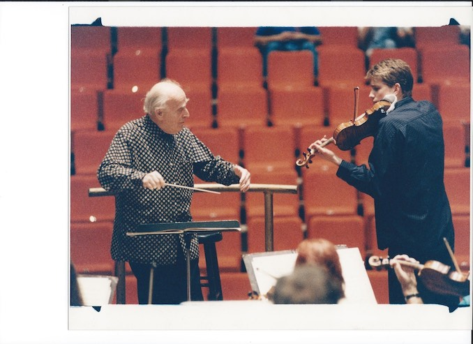 Picture of me as a kid with Yehudi Menuhin conducting