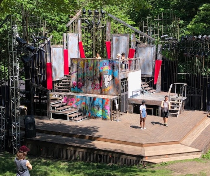 Rehearsing on our brilliant set in High Park designed by Joanna Yu