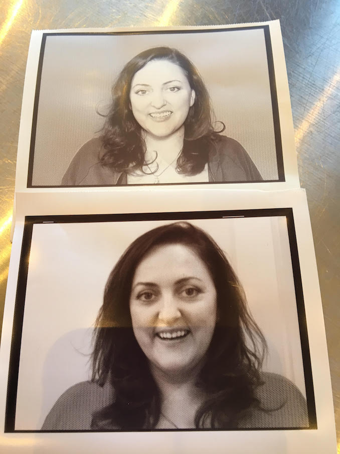 These are two polaroids from my headsets from 2 auditions. They were taking at two different casting houses, within an hour of each other. In case you are wondering, I booked the bottom one. Bad lighting pays off sometimes.