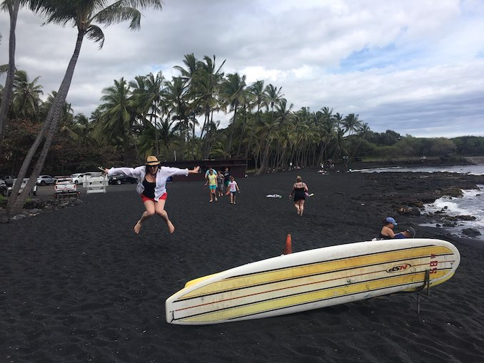 This is me in March, travelling for travel's sake. This is on the big island, in Hawaii. I make my husband take pictures of me jumping all over the world. The look on his face when I ask him to take about 10 shots like this tells me HE LOVES IT.