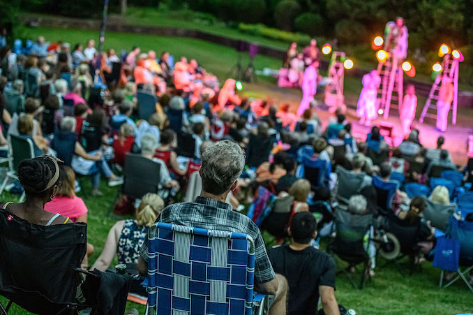 Finally got to sit back and just enjoy A (musical) Midsummer Night's Dream with a packed house (or grass tennis court) of audience members. Photo by Dahlia Katz.