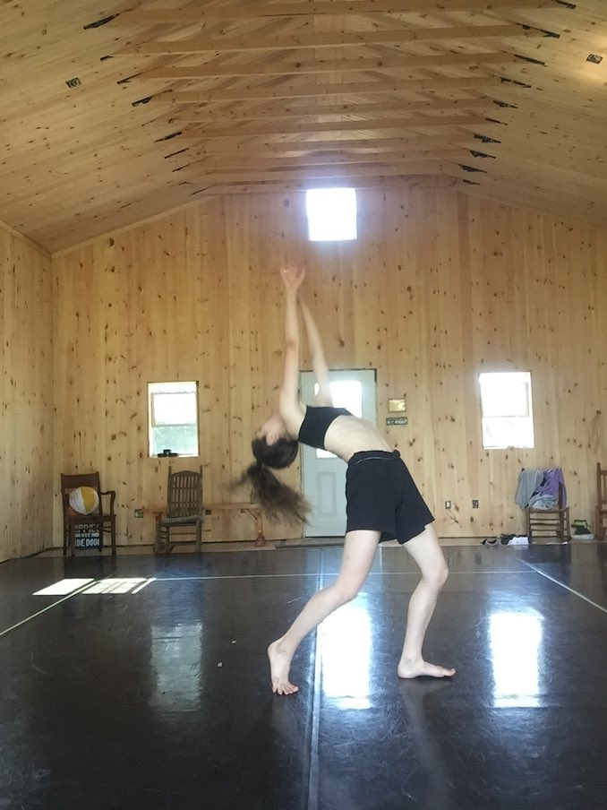 Me dancing in the beautiful barn at Stone Boat Farm Artist Retreat. Bilal and I were up there for week two of our rehearsals. It was magical! There were cows right outside watching us rehearse.