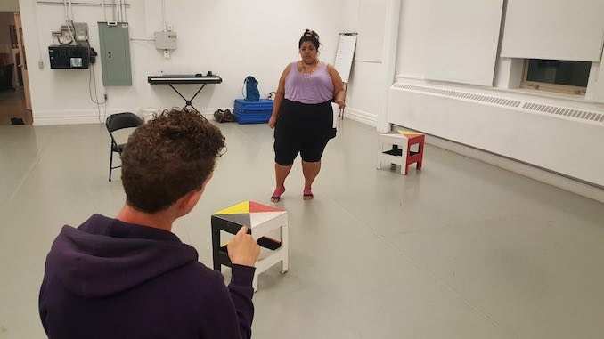 Yolanda Bonnell - My darling Cole Alvis, directing me in a rehearsal of bug. The work I do is oftentimes quite physical and requires a good warm up. I try to stretch in some form every day, but some days are harder than others.