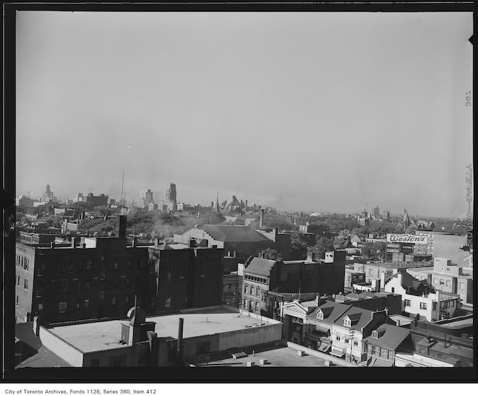 1950? - Aerial view looking south-west from just north of Yonge and Bloor