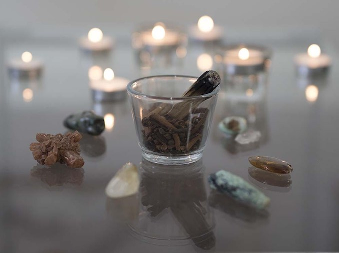 David Brown - I fill my studio with many things to help me with my creative process.  Books, found objects, photos I have taken for inspiration.  These crystals help me to ground and balance my space and enhance the energy.