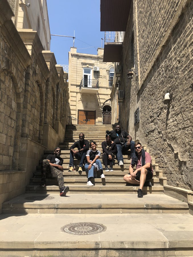 Adventuring with crew mates in Baku, Azerbaijan on a day off from perfoming with Cardi B at the Formula 1