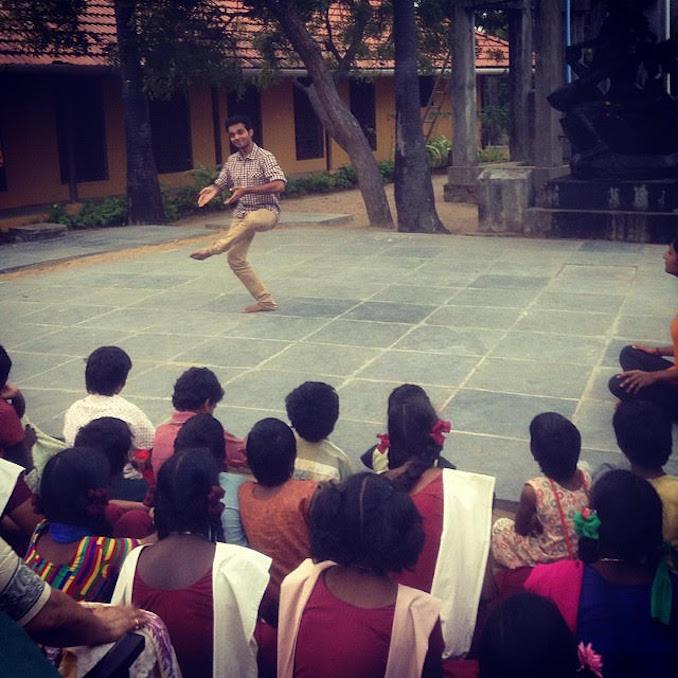 Bhavajan Kumar - Dancing for children at an orphanage in Pondicherry