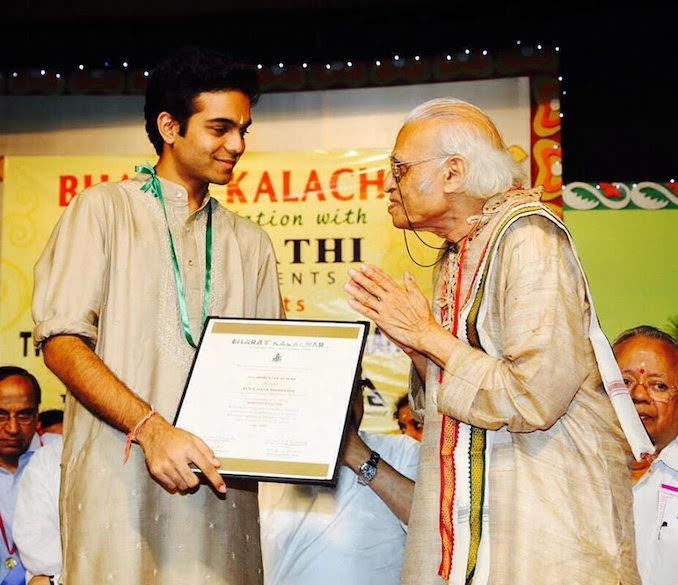 Receiving the Yuva Kala Bharathi title from Bharath Kalachar in Chennai, India