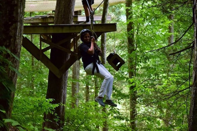 Shirin Ariff - Freaking out and yet facing my fear of heights.. Ziplining at Smoky Mountains, Tennessee
