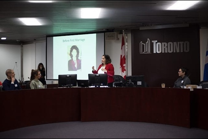 Speaking at City Hall at a Women's Empowerment Event, hosted by Immigrant Women in Business