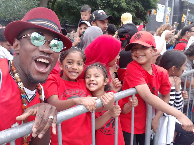 Myself and little Raptors fans at the Toronto Raptors Championship parade.