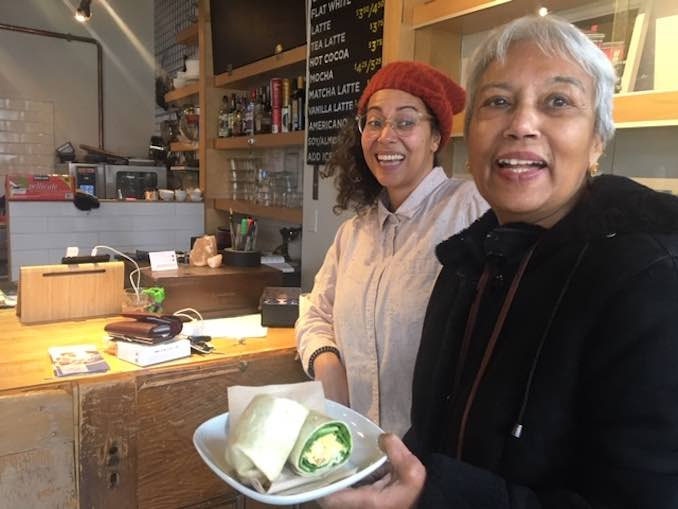 Having Lunch with my Umma Sujatha Lena at the Theatre Centre Cafe. Liza Paul is the amazing manager and animator of this vibrant community space.
