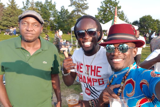 Chilling with some of my African brothers at woodbine park during Afro Fest.