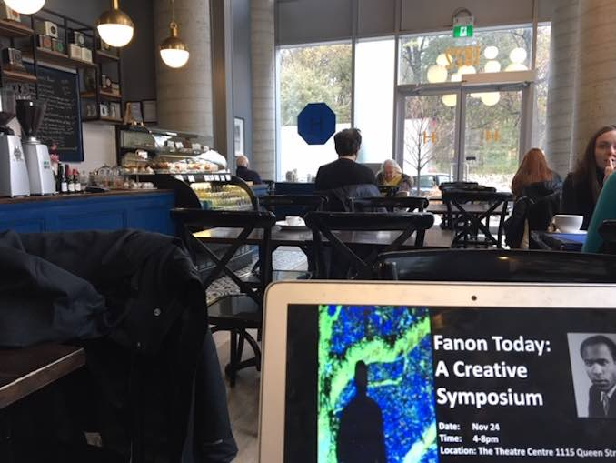 Working on publicity for our Famon Symposium at my favourite writing spot Hannah's cafe on Bloor overlooking high park. Iris named the cafe after her grandmother Hannah. It's the perfect spot for baked goods, salads quiche or sandwiches .jpeg