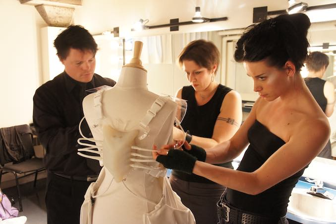 In Montreal prepping the DareDroid2.0 with collaborators Marius Kintel and Anouk Wipprecht, for Elektra Festival 2011
