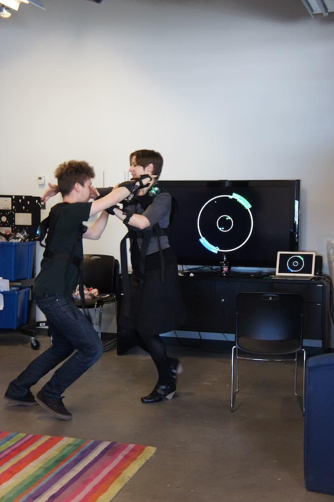 Playtesting Propinquity with collaborator in Hexagram, Concordia University, 2012