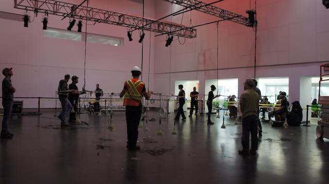 Installing Re-Collect with collaborator Michal Seta at the Nuit Blanche Toronto in 2015