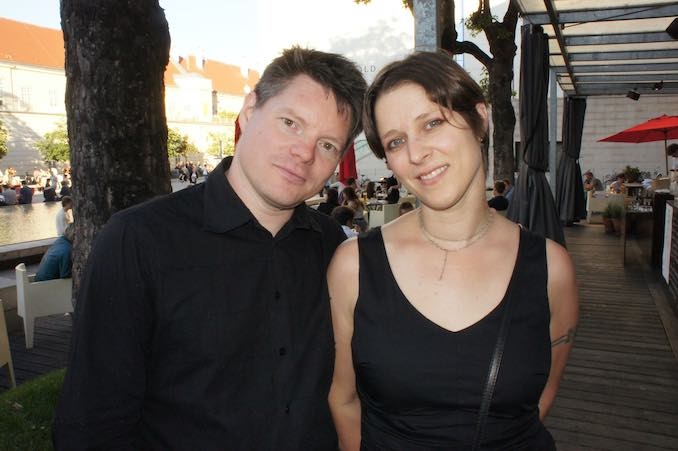 After the exhibition of the DareDroid2.0 in Vienna with collaborator and husband Marius Kintel (2012)