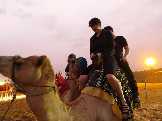 Jane Tingley - A camel ride - in Dubai, UAE, after installing Re-Collect at ISEA in 2014.