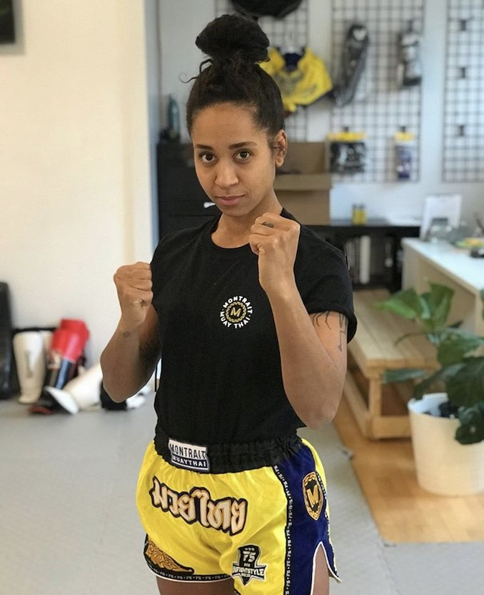This is me mugging after a Muay Thai class at Montrait Muay Thai. I love Muay Thai; it grounds me and makes me into a more confident person.