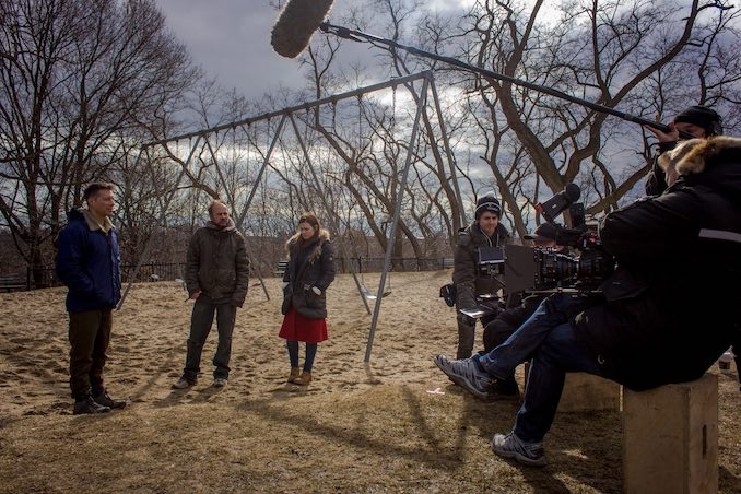 On location in Wychwood. Between takes, actors Jeff Kassel, Vlad and Nicole Maroon don't have a whole lot to say to each other, apparently.