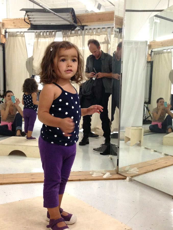 Look at that little munchkin!!! Wardrobe fitting for Beauty & the Beast.