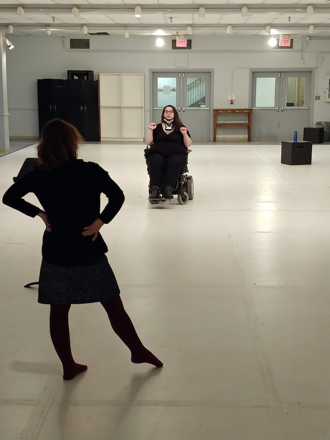 Ophira Calof - Rehearsal for Literally Titanium, getting ready for the Next Stage Theatre Festival! We needed a big room because I do lots of wheelchair pirouettes.