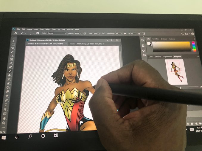 Dion Johnstone - On days when I have the time, I like to chip away at an art piece of some kind. I work digitally on my Wacom Mobile Studio, generally in Photoshop. Here I am at early stage of a new piece. Nubia, also known as Wonder Woman's Amazonian sister.