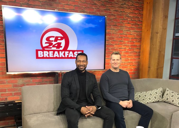 Now that Julius Caesar is open, I've been hitting the media circuit, helping to promote the show. Here I am with fellow cast mate and co-star Graham Abbey, who is also the artistic director for Groundling Theatre ( who is co-producing Julius Caesar with Crow's Theatre). We've had a few super early mornings doing spots like this on CP24 and other networks