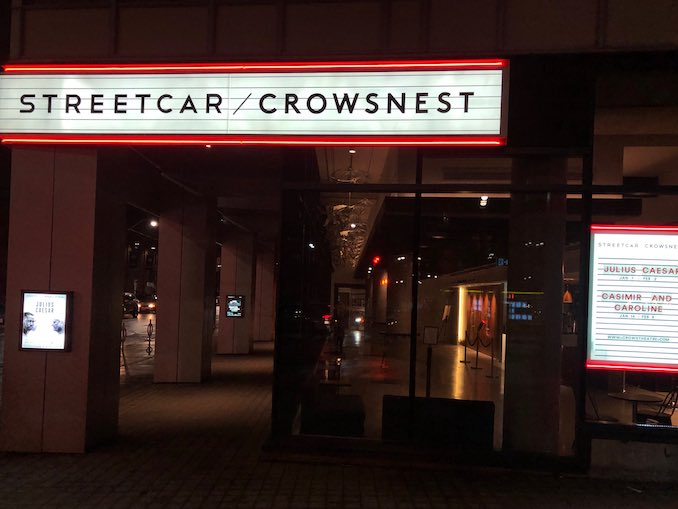 Now that we are open, aside from Wednesday, Saturday and Sunday matinees, when I arrive at work it's usually already dark outside. Here's the new billboard for Crow's Theatre, which everyone at the theatre is pretty excited about!