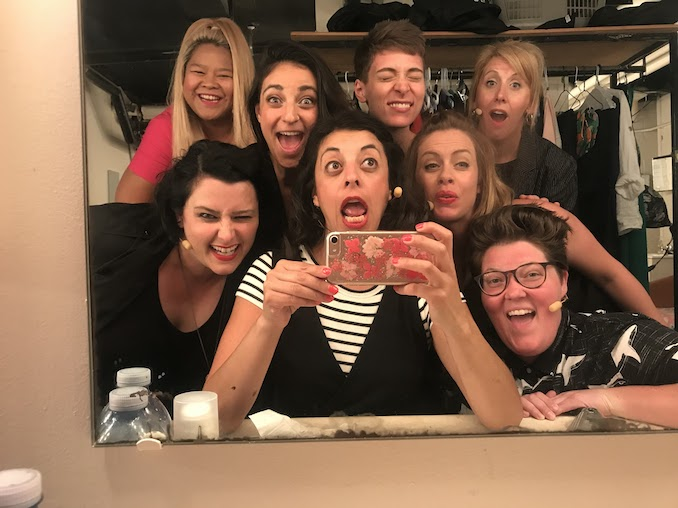 The cast of She The People before we open at Just For Laughs in Montreal! From left to right: Ann Pornel, Meg Maguire, Nicole Byblow, Karen Parker, Ashely Comeau, Paloma Nuñez, Kirsten Rasmussen and Tricia Black. Not featured here but a HUGE part of this run is Carly Heffernan our fearless, powerhouse director and cast dad Gary Rideout Jr.
