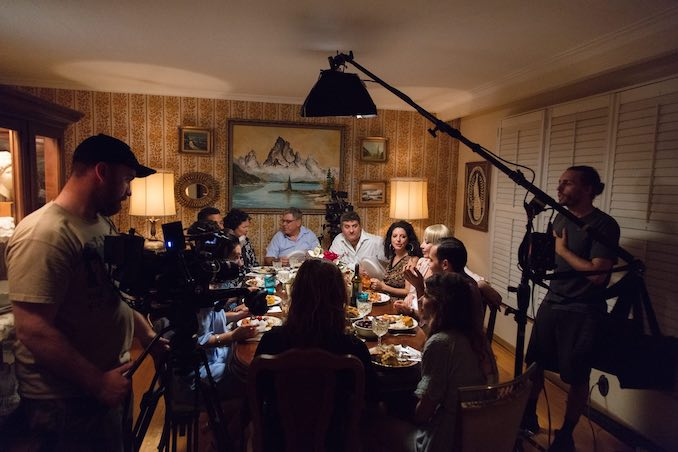 A behind the scenes shot of the infamous dinner scene in FAK YAASS the series.