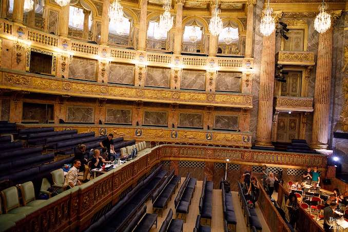 Opera Atelier's creative team in rehearsal at the Opéra Royal, Versailles.