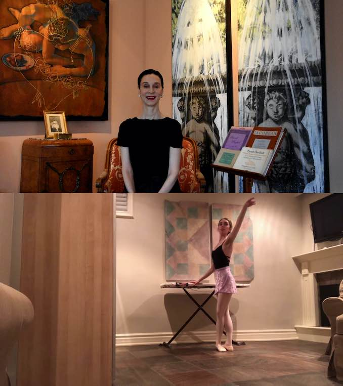 Co-Artistic Director Jeannette Lajeunesse Zingg teaches a virtual ballet class with Artist of Atelier Ballet Rebecca Moranis participating from home
