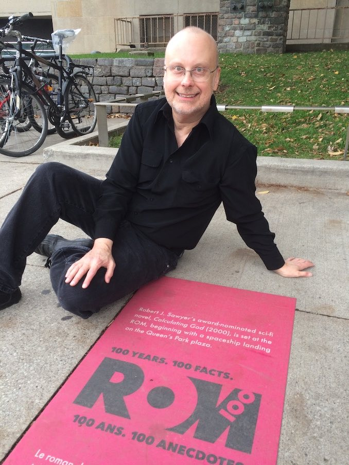 never got to work at the ROM, but my novel Calculating God was set there, and, as part of the Museum's celebration of its 100th birthday, they put a placard in the sidewalk our front of the Planetarium commemorating that fact.