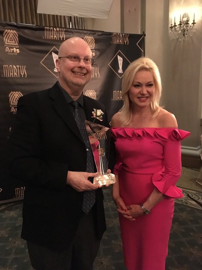 I was so honoured to receive the first-ever Lifetime Achievement award from the Mississauga Arts Council; that's Mississauga Mayor Bonnie Crombie with me.