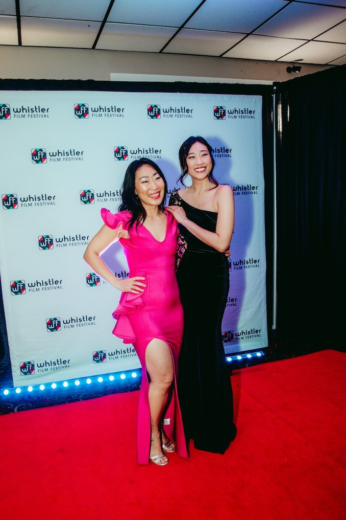 Opening night red carpet doing press for Queen of the Morning Calm World Premiere at the Whistler Film Festival with Gloria Kim (writer, director, producer).