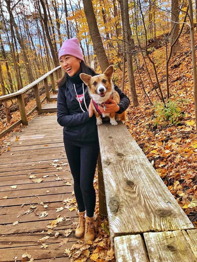 Maple and I on our hike. We like to find trails, spend the morning going for a long walk, play fetch and meet new friends.