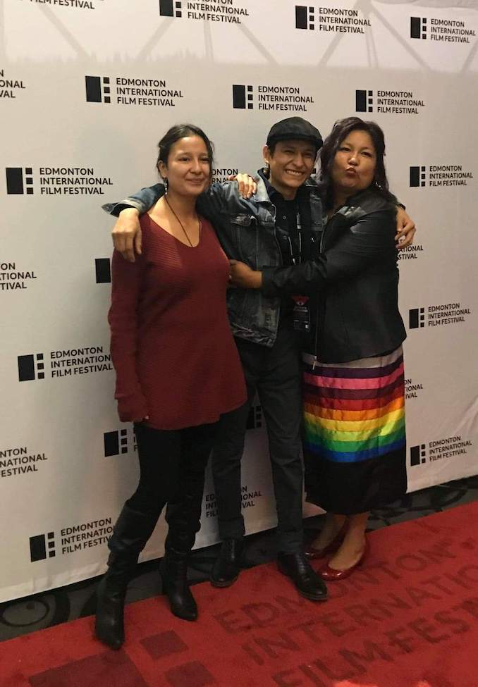 Samuel Marty - RED SNOW premiere at the Edmonton International Film Festival with his sister Casadaya and his mom Charity Marty