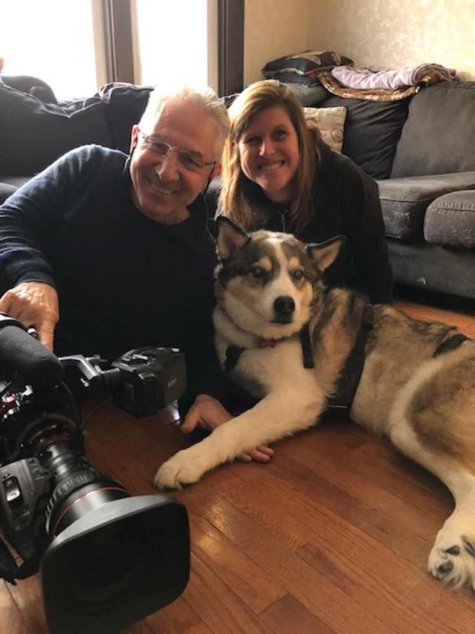 Last year with my cinematographer friend Mike Grippo filming a remarkable paralyzed dog named Eddie.
