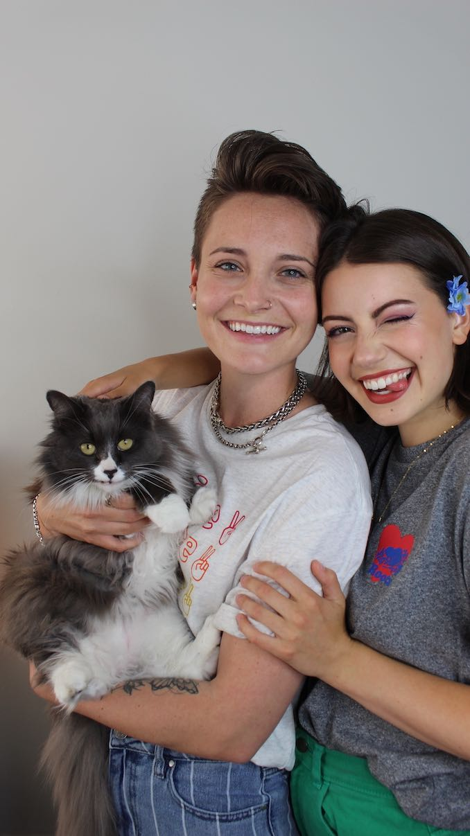 """""""My partner Lauren and I with our kitty-child Willow, who we adopted from the Etobicoke Humane Society back in April."""""""